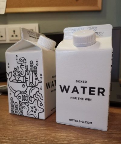 Hotel G - Boxed Water - For the Win!